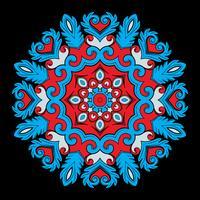 Elemento ornamental redondo brilhante para o projeto nas cores vermelhos e azuis.