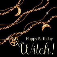 Feliz aniversário, bruxa. Design de cartão com pingentes de pentagrama e lua na cadeia metálica dourada. No preto. Ilustração vetorial
