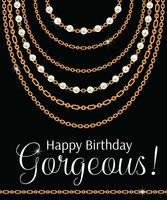 Feliz aniversário linda. Design de cartão com peras e correntes colar metálico dourado. Em preto