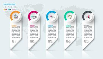 Infográfico de negócios com 5 etapas. vetor