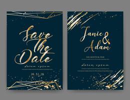 O cartão do convite do casamento, salvar o cartão de casamento da data, projeto de cartão moderno com curso geométrico e da escova dourado, ilustração do vetor. vetor