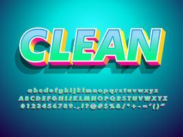 Efeito de texto moderno gradiente 3d limpo com sombra vetor