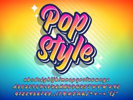 Efeito de texto estilo pop colorido vetor