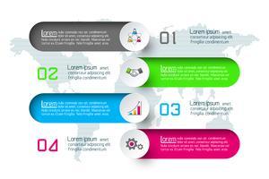 Modelo de opções de etapa de infográficos negócio abstrato. vetor