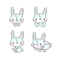coelhinho fofo e coelho dos desenhos animados doodle vector
