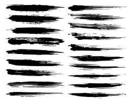 Conjunto de traçados de pincel, pinceladas de tinta preta grunge. Ilustração vetorial vetor