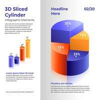 Elementos de infográfico de cilindro fatiado 3D vetor