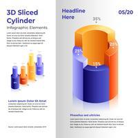 Elementos de infográfico de cilindro 3D vetor
