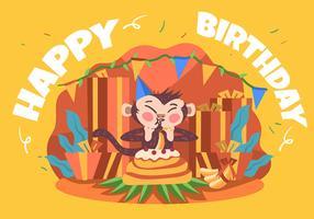 Feliz aniversário animal macaco vetor