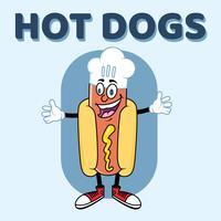 Hotdog Chef Character Design de modelo de logotipo vetor