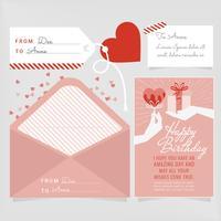 Cartão de aniversário de vetor e Envelope