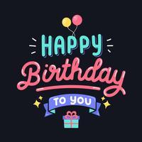 Feliz aniversário tipografia design vetor