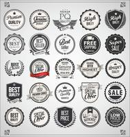 Coleção de crachás e etiquetas vintage retrô vetor
