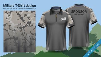 Projeto polo militar do t-shirt, com roupa da cópia da camuflagem.