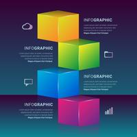 Elemento de passos de gráfico de caixa 3D infográfico vetor