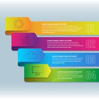 Fita de infográfico 3D com quatro etapas elemento vetor