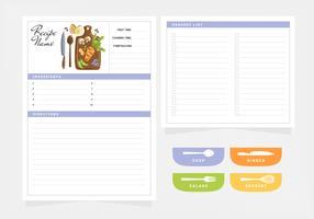 Cartão de receita de vetor e modelo de lista de compras
