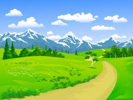 caminho e montanha vetor