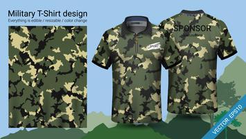 Projeto polo militar do t-shirt, com roupa da cópia da camuflagem. vetor