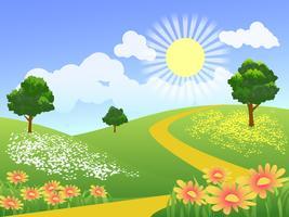 flores no prado vetor