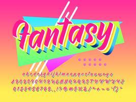 Efeito de fonte futurista de fantasia dos anos 90 vetor