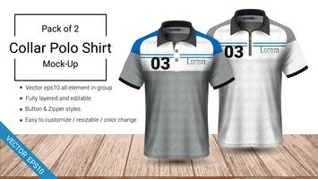 Modelo de t-shirt de gola polo. vetor