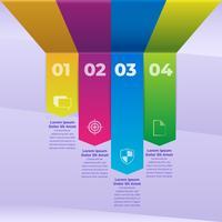 Modelo de tiras de papel colorido de infográfico 3D vetor