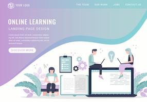 Página de aterragem de aprendizagem on-line de vetor