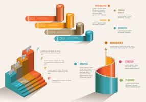 Colorido 3D Infogrpahic Elements Vector Set
