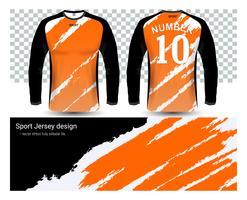 Camisas de futebol de manga comprida camisetas modelo de maquete. vetor