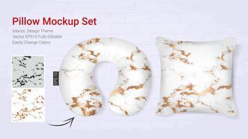 Modelo de maquete de travesseiro de pescoço de viagens realista e capa de almofada. vetor