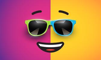 Emoticon colorido alto detiled com óculos de sol, ilustração vetorial