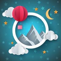 Ilustração de balão de ar. Paisagem de papel dos desenhos animados.