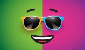 Emoticon colorido alto detiled com óculos de sol, ilustração vetorial vetor