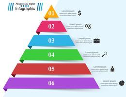 Ilustração do vetor do estilo do origâmi de Infographics do negócio da pirâmide.