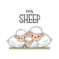 Família de ovelhas felizes. Paizinho da mamã e desenhos animados dos carneiros do bebê na grama.