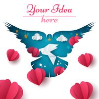 Ilustração de pomba. Paisagem de papel dos desenhos animados. Coração, amor, nuvem, ícone de estrela.