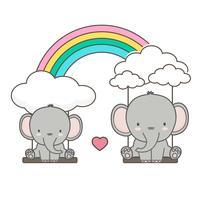 O elefante e o bebê balançam em um arco-íris.