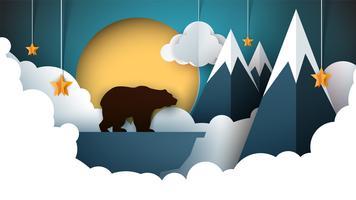 Papel origami paisagem. Montanha, urso, animais, sol, nuvem, colina, estrela.