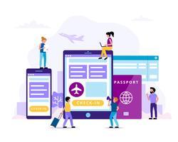 Check-in, ilustração do conceito com tablet, smartphone, passaporte, cartão de embarque. Pequenas pessoas fazendo várias tarefas.
