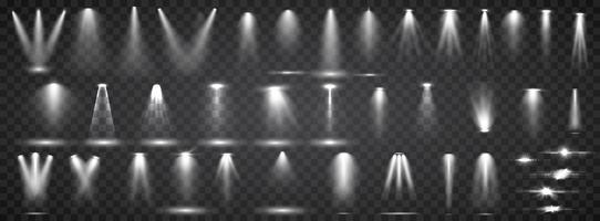 Coleção de iluminação de cena. Big set Iluminação brilhante com holofotes. Spot de iluminação do palco.