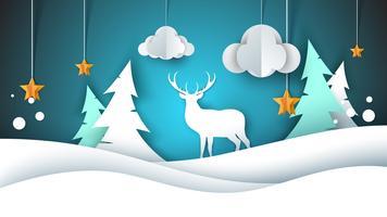 Ilustração de feliz ano novo. Feliz Natal. Veado, abeto, nuvem, estrela, inverno.