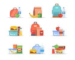 Lancheira - diferentes tipos de almoços, merenda escolar e lanche, bandejas de almoço para crianças com frutas, hambúrgueres, água vetor