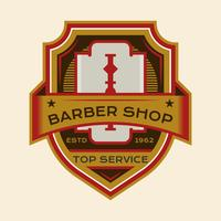 Emblema de barbeiro bonito vetor
