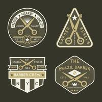 Variedade de distintivo de barbeiro vetor