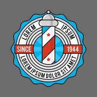 Emblema de loja de barbeiro vintage plana vetor