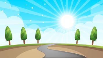 Paisagem dos desenhos animados, estrada, árvore do sol. vetor