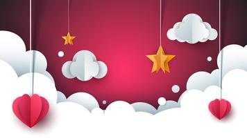 Paisagem de amor dos desenhos animados. Nuvem, coração, estrela.