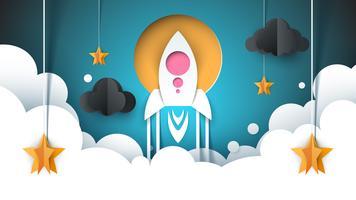 Ilustração de paisagem de papel dos desenhos animados. Foguete, estrela, nuvem, céu.