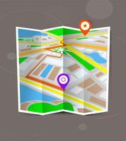 Mapa dobrado cidade abstrata com marcadores de localização.